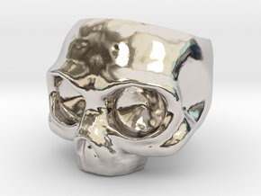 Skull Ring in Rhodium Plated Brass