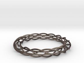 Twist Bangle A02L in Polished Bronzed Silver Steel