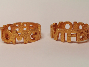 OMGWTFBBQLOL chunky block text ring! in Polished Gold Steel