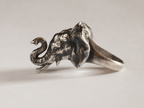 Elephant Ring in Natural Silver: 5 / 49