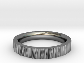 Tree Bark Ring in Fine Detail Polished Silver