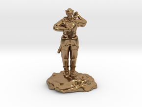 Elf Cleric With Holy Symbol and Sword in Natural Brass