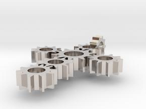 Steampunk Gear Cross - Static in Rhodium Plated Brass
