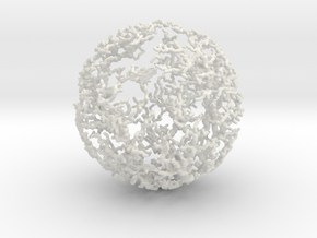 Dendritic Ornament, Lopsided Sphere no.1 in White Strong & Flexible