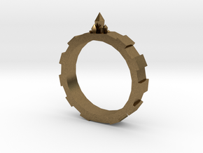 Gem-gear Ring in Natural Bronze