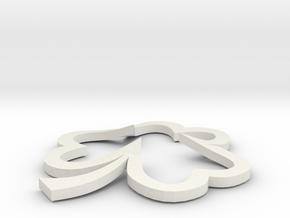 Open Heart Shamrock Pendant in White Natural Versatile Plastic