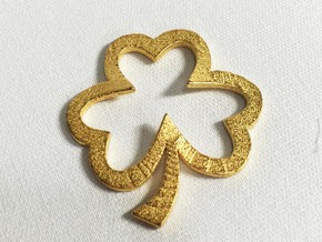 Open Heart Shamrock Pendant in Polished Gold Steel