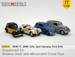 German 1930s cars (SET A) TT 1:120 in Smooth Fine Detail Plastic