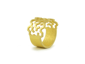 Sigma Ring  size US6 in Polished Gold Steel