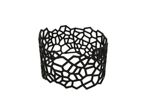 Voronoi Bracelet size L 2mm in Black Natural Versatile Plastic