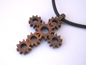 Steampunk Gear Cross - Static in Polished Bronze Steel