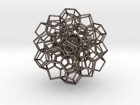 Partial 120-Cell, Perspective Projection-75 cells in Polished Bronzed Silver Steel
