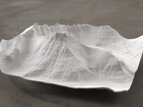 6'' Mt. Wilbur Terrain Model, Montana, USA in White Natural Versatile Plastic