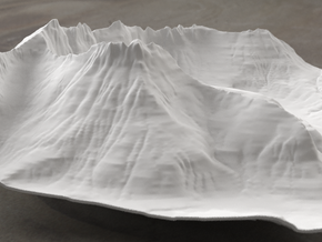 8'' Mt. Wilbur Terrain Model, Montana, USA in White Strong & Flexible