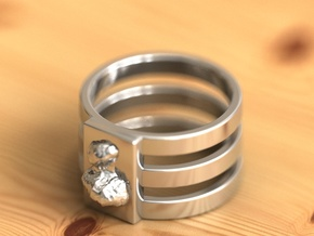 67P ring in Fine Detail Polished Silver