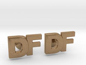 Monogram Cufflinks DF in Natural Brass