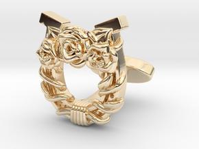 Luck N Roses Cufflinks Center in 14k Gold Plated Brass