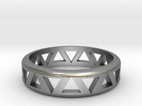Slender Triangle Pattern Ring in Natural Silver