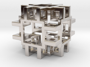 Squared Cubic Small in Rhodium Plated Brass