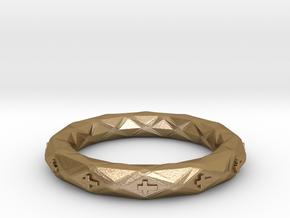 Faceted Cross Bracelet in Polished Gold Steel