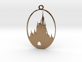 DW Inspired Cinderellas Castle 2 Inch Pendant in Natural Brass