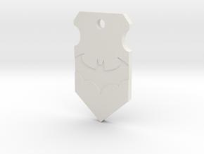 Caped Crusader Shield Pendant in White Natural Versatile Plastic