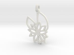 Waterlily Pendant in White Natural Versatile Plastic