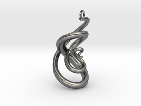 Serpent Pendant in Fine Detail Polished Silver
