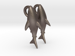 Shark Clinging On Earrings in Polished Bronzed Silver Steel