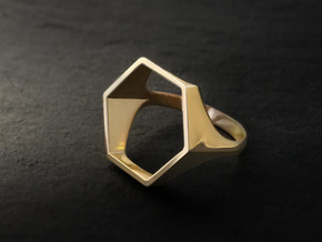 Hexagon Ring - Sz5 in 18K Gold Plated