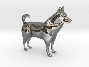 "Shepherd Dog - 5 cm / 2"" in Fine Detail Polished Silver"