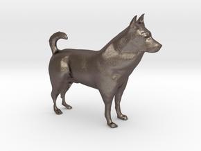 "Shepherd Dog - 10cm / 4"" in Polished Bronzed Silver Steel"