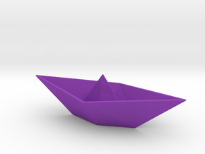 Origami Boat in Purple Processed Versatile Plastic