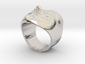 Anonymous ring 18mm in Rhodium Plated Brass