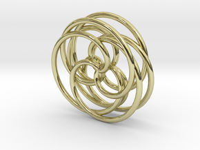 Spirograph Pendant (3D) in 18k Gold Plated Brass