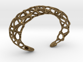 Cuff Design - Voronoi Mesh with Large Cells in Raw Bronze