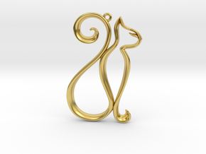 The Cat Pendant in Polished Brass