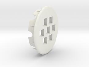 Seven Keystone Jacks In 86mm Desk Grommet in White Natural Versatile Plastic