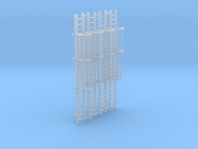 'HO Scale' - (4) 20' Caged Ladder in Smooth Fine Detail Plastic