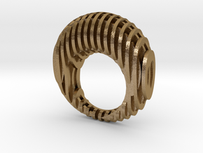 Waffle Ring 17mm in Polished Gold Steel