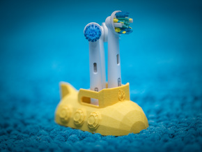 Toothbrush Holder / Stand Submarine for Oral B bru in Yellow Processed Versatile Plastic