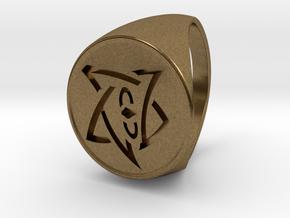 Elder Sign Signet Ring Size 11 in Natural Bronze