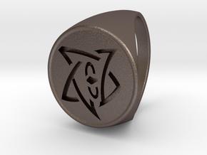 Elder Sign Signet Ring Size 11 in Polished Bronzed Silver Steel