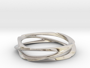 Single Swirl Size 7.5 US in Rhodium Plated Brass