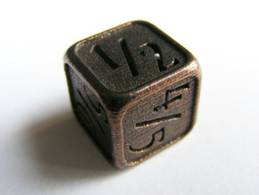 'Simple' D6 Tarmogoyf P/T Die 14 mm in Polished Bronze Steel