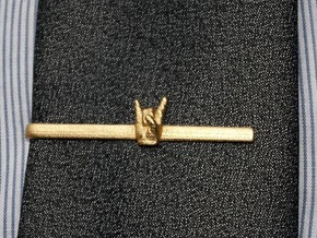 Horns Up Tie Clip in Matte Gold Steel