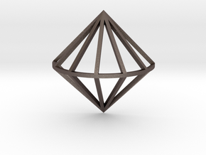 3D Diamond With Center Band in Polished Bronzed Silver Steel