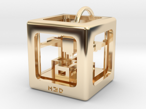 3D Printer Pendant in 14k Gold Plated Brass