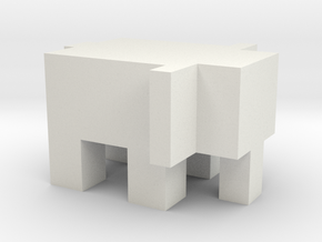Cubic Elephant in White Natural Versatile Plastic