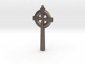 Celtic Cross 010 in Polished Bronzed Silver Steel